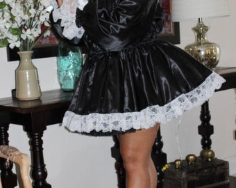 Adult Sissy Classic French Maid Uniform Satin with optional long or short sleeves