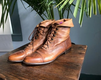 Fold over Italian Leather Booties
