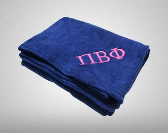 Greek Embroidered Fleece Blanket   Sorority Fleece Blanket   Fraternity Fleece Blanket   Custom Embroidered Blanket