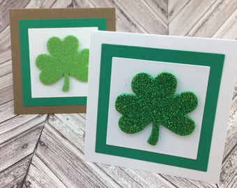 shamrock cards, mini shamrock cards, st. patrick's day cards, mini st. patricks day cards, shamrock gift tag, shamrock thank you card