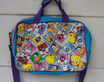 90s looney tunes tweety taz neon shoulder tote bag