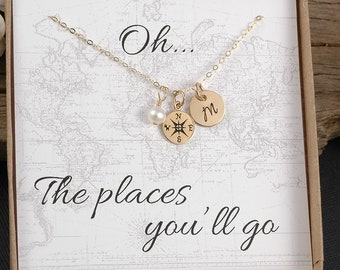 Gold Compass Necklace - Travel - Goodbye Gift - College - New Job - Graduation- Gold Compass Charm, Initial, Pearl or birthstone
