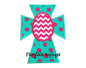 Digital Machine Embroidery Design -  Sassy Cross with Egg Applique