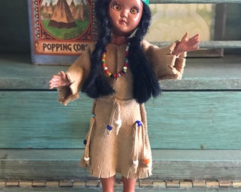 50s Native American Doll with Blinking Eyes
