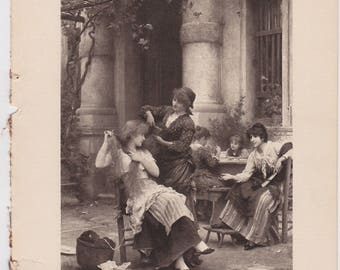 Victorian Antique Photogravure of Woman having Hair combed Mealtime with Women Friends SISTERHOOD