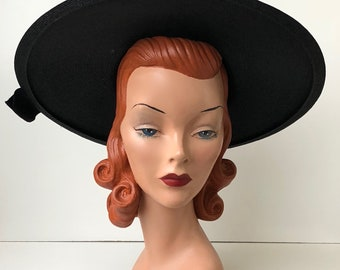 1950's Inky Black Straw Wide Brim Sun Hat with Black Rose Embellishments