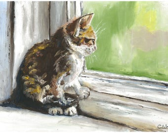 Kitten by the Window is a print of an original Oil painting hand painted by myself.