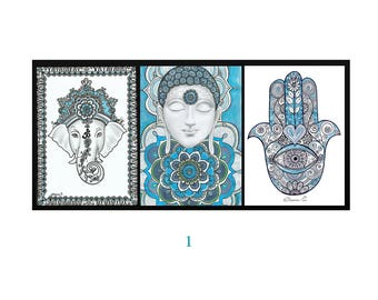 Set Of 3 Piece CANVAS Prints Buddha Painting Hamsa Hand Ganesha Ganesh Wall Decor Spiritual