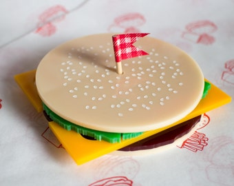 Burger Coasters - Burger Gift - Burger Homeware - Laser Cut - Coaster Set - Fun Coasters - Finest Imaginary - Gift for Burger fan