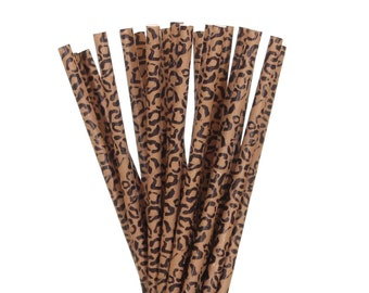 Paper Straws, Cheetah Print Paper Straws, Brown Cheetah Jungle Party, Safari Party Decor, Zoo Party Straws, Cheetah Party Supplies, Straw