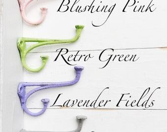 Pastel Hooks, Decorative Hook, Ornate Wall Hook, Decorative Wall Hook, Small hook, Hand Towel hanger, Jewelry Hook, Fall Home Cast Iron Hook
