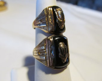HERS 1947 Class Ring Newport NH Signet Ring Black Onyx 10K Gold Ring Vintage High School Rings Womens His and Hers Matching Pr Rings