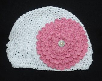 Pink Crochet Flower Hat for Newborn