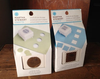 """SALE! Martha Stewart Crafts """"Scalloped dot square"""" & """"Pinking circle"""" all over punch ~ lot of 2"""