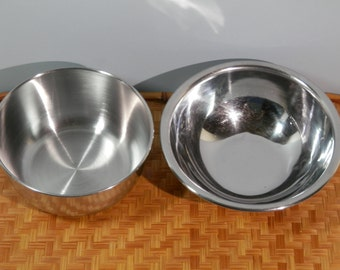 Pair Stainless Steel Mixing Bowl Set Danish Modern Nesting Cereal Fruit Ice Cream Soup Salad Candy Chip Dip Whisk Mix Prep Serve Household