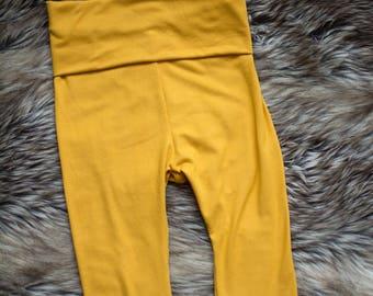 Legging baby-toddler - progressive - 3/4 pants - capri - mustard