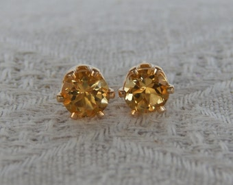 Citrine 6mm Studs, Golden Citrine Sterling or 14 Karat Gold Filled Post Earrings, November Birthstone, Natural AAA Grade Golden Citrine