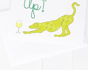 Bottoms Up Dog Greeting Card