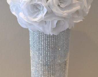 "WHITE flower ball, WEDDING CENTERPIECE, white pomander white kissing ball, flower girl 7"" 8"" 10"" 12 14"" 16"" 18"""