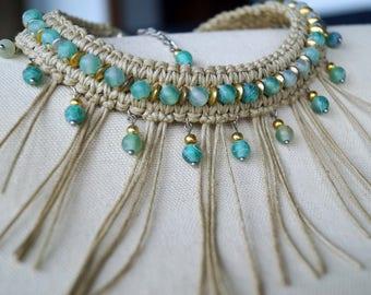 Aquamarine Stone Necklace, Tan Fringe Necklace, Macrame Choker, Boho Necklace