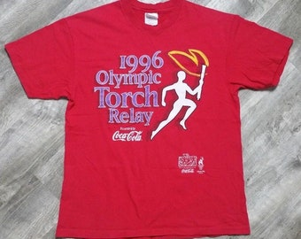 Vintage 1996 Olympic Torch Relay Coca Cola T-shirt size Large