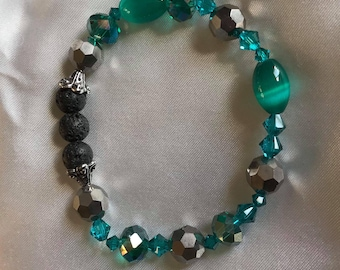 Green Crystal and Green MoonGlow Stretch Bracelet With Lava Stone
