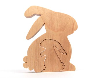Wood Easter Bunny Rabbit Decoration, Woodland Animal Country Decor, Wooden Rabbit Easter Decoration, Bunny Accent