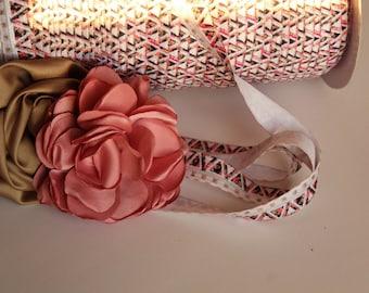"5/8"" Fold Over Elastic FOE Pink Triangle Aztec"