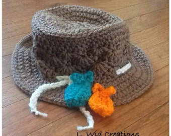 Crochet Fisherman Hat with Fish Applique-FREE SHIPPING