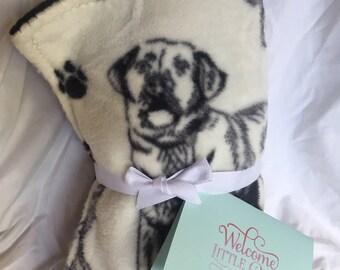 """Fleece dog print blanket 27"""" x 35"""""""