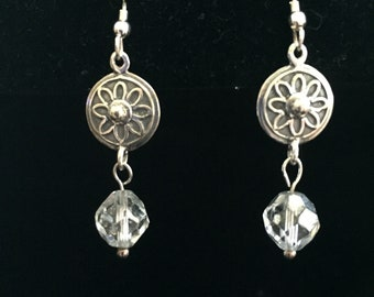 Sterling Silver and Crystal  Drop Earrings
