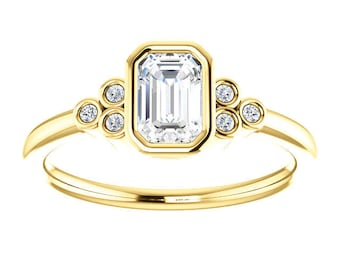 Forever One Moissanite Emerald Cut and Diamond 14K Gold Ring, Non Traditional Engagement, Gift for Her, Exquisite Stacking Ring