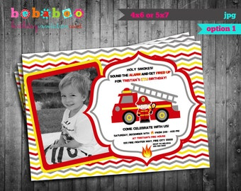 Firetruck birthday Invitation/Firetruck Birthday Party Card/Birthday Invitation/Invitation/Firetruck Party Digital/Printable