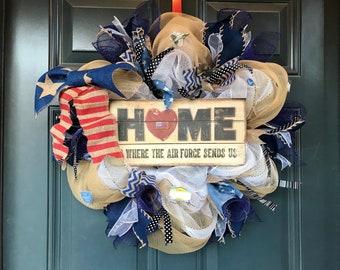 Military Wreath, Air Force Wreath , US Air Force wreath, Air Force Decor, Veterans Wreath