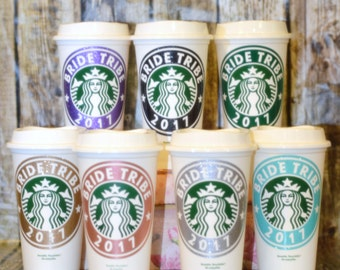 Bride Tribe Gifts - Personalized Tribe Cup, Gifts for Bridesmaids (Genuine Starbucks Cup with Name) [bridal party gifts, bachelorette party]