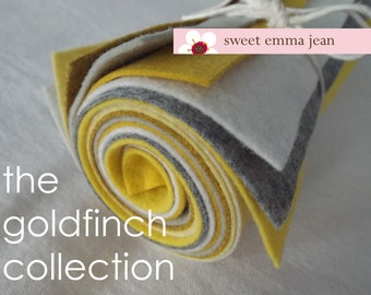 The Goldfinch Collection - 8 Sheets of Felt - 9x12 Wool Felt Sheets