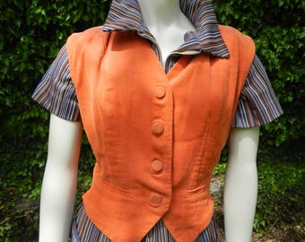 Vintage Apricot Fitted Corduroy Vest with Bakelite Buckle