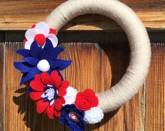 Americana wreath, patriotic, felt flowers, 4th of July, yarn wreath, handmade, felt flower wreath, home decor, summer, floral wreath, floral