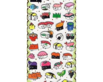 Kawaii Sushi Puffy Stickers Set 2