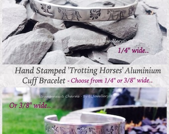 Hand Stamped 'Trotting Horses' Aluminium Cuff Bracelet,Metal Jewellery, Jewelry, Handmade, Horses, Horse Jewellery, Equine, Horse Lover