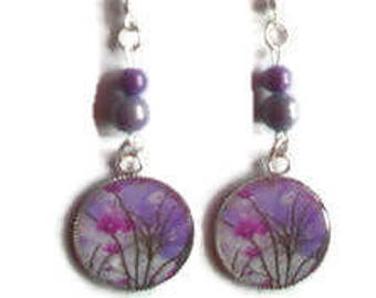 Earrings cabochon/purple / sparkly sequins / gift / birthday / mothers/thanks/Christmas party