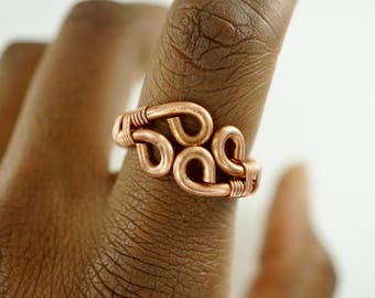 Adjustable Copper Wire Rings Wire Wrap Ring Silver Gold