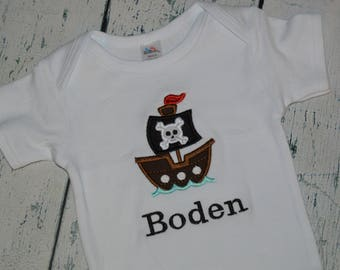 PERSONALIZED Pirate Ship Baby Bodysuit or Boys Shirt, Monogrammed Pirate Top