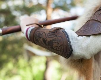 "Viking Leather Bracers ""Shieldmaiden"" (Pair); Arm Guard; Medieval Bracers; Viking Bracer"