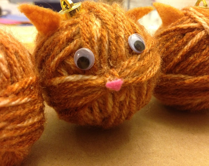 Orange Yarn Kitty Holiday Ornament for Christmas Tree