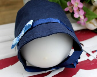 Navy vintage hat 0-6 months, hat with visor, summer hat, unique headdress, recovered material, eco-friendly
