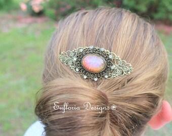 Blush Pink Hair Comb | Crystal & Opal Hair Comb Vintage | Opal Hair Accessory | Crystal Hair Accessory | Antique Comb | Decorative Hair Comb