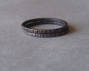 Tiny Stoneless Stackers - Set of 2 Sterling Silver Rustic Rings