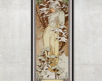 The Seasons: Winter - Art Nouveau poster -  by Alphonse Mucha - Art nouveau print, P018