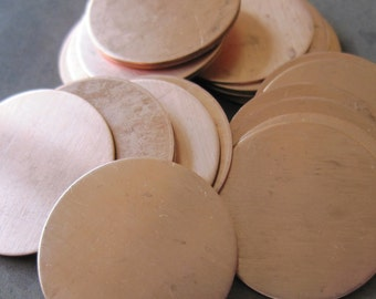 1 Inch (25mm) Copper Disks - QUANTITY 5 - 24g